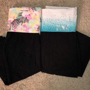 2 pairs of PINK bedazzled cropped leggings